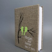 Wedding rustic guest book burlap Linen Wedding guest book Bridal shower engagement anniversary Green birds on branch