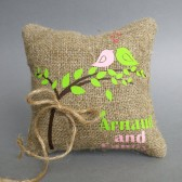 Wedding rustic natural Burlap linen Ring Bearer Pillow Pink and Green Birds and green leaves on Brown tree and linen rope