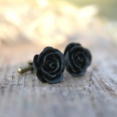 Black Rose Flower Cufflinks