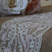 Burlap & Pink-Ivory Lace Table Runner - Weddings, Home Decor, Rustic, Shabby Chic
