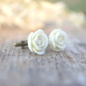 Ivory Cream Rose Flower Cufflinks