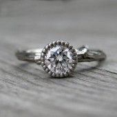 Moissanite Twig Engagement Ring - Rose, Yellow, or White Gold - Half Carat - Beaded Bezel