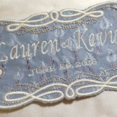 Blue Silk Custom Embroidered Wedding Dress Label