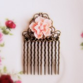 Pink Flower Hair Comb Shabby Chic Wedding Hair Piece Bridesmaids Gift