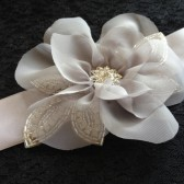 Handmade chiffon flower with rhinestone center sash