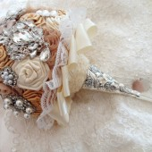 Champagne Brooch Bouquet with Jeweled Fabric Flowers