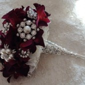 WINE Brooch Bouquet with Jeweled Fabric Flowers