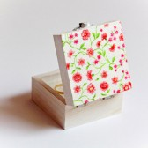 Pink Flowers Ring Bearer Box - Square Handmade