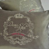 Wedding Crest Decor, Silk Bridal Custom Embroidered Pillow