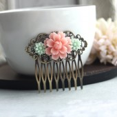 Soft Mint Green Daisy, Soft Pink Rose Collage Hair Comb. Bridal. Bridesmaids Gift.
