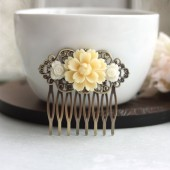 Ivory Mum Flower, Small White Rose Flower Collage Hair Comb, Bridesmaids Gift Wedding Comb