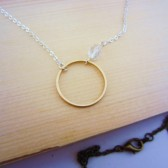 Circle of love necklace. Mixed metal, minimalist jewelry. Gold, silver, hematite or copper ring.