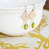 Lace Earrings in Lime