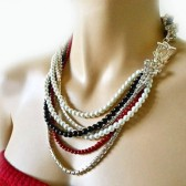 Red Black White Pearl Necklace