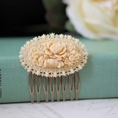 Ivory Celluloid Floral Hair Comb