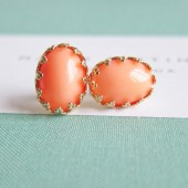 Peach Earrings Orange Salmon Studs Gold Plated
