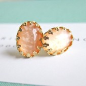 Peach Earring Studs Gold Plated Post