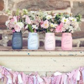 Preppy Pink - Dorm or Office Decor - Painted Mason Jars - Vases