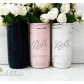 Navy and Pink Wedding and Home Decor / Painted and Distressed Mason Jar / Vase / Shabby Chic