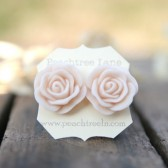 Large Pale Peach Pink Rose Flower Earrings