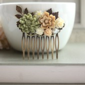 Shabby Nature Brown, Green Rustic, Ivory Rose, Leaf, Vintage Style Collage Hair Comb.