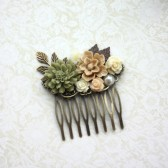 Fall Shabby Wedding Comb. Nature, Brown, Green Rustic, Ivory Rose, Leaf Flower Hair Comb