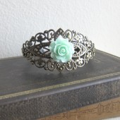 Mint Green Wedding Bracelet Bridal Corsage Bridesmaid Gift