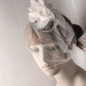 Ella-Floral Ivory Lace Wedding Fascinator, Bubble veil, Pearl Lace Veiled,Silk Dupioni Wedding headpiece