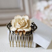 Ivory Rose Hair Comb. Ivory Cream Rose with Gold Petals Brass Filigree Hair Comb, Vintage Inspired Shabby Chic, Bridal Wedding Hair Comb
