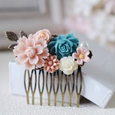 Flowers Collage Hair Comb