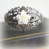 White Floral Bracelet Antique Brass Corsage