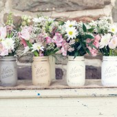Harvest Pint - Wedding and Home Decor Centerpiece - Painted and Distressed Shabby Chic Mason Jars - Vases