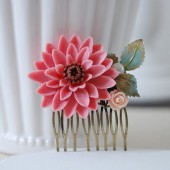 Large Pink Chrysanthemum Flower Statement Hair Comb