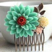 Large Turquoise Chrysanthemum Flower Comb