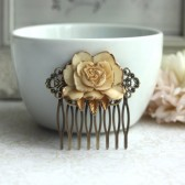 Ivory Antiqued Gold, Shabby Chic, Vintage Style Ivory Rose Flower Hair Comb. Ivory Gold Rose Hair Comb