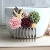 Flying Bird, with Rustic Red, and Shabby Green Flower Comb
