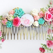 Pink Turquoise Hair Comb Pastel Colors Wedding Bridesmaid Chintz Vintage Inspired Secret Garden Neon Summer Colorful Aqua White