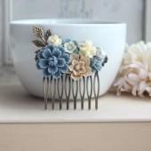 Dusty Blue Flower, Brown Sakura, Ivory Bouquet, Pearl, Shabby Flower Collage Hair Comb