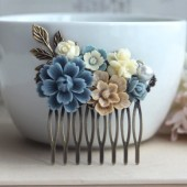 Dusty Shabby Chic, Rustic Blue Wedding Hair Comb