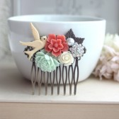 Flower Collage Hair Comb. Coral Sakura Flower, Mint Rose, Pearl, Ivory, Swallow, Leaf Comb