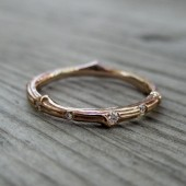 Diamond Eternity Twig Wedding Band: 11 Diamonds; White, Yellow, or Rose Gold; Canadian Diamonds
