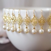 7 Pairs Swarovski Cream Ivory Pearl Gold Flower Earrings