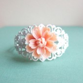 Peach Wedding Bracelet Bridesmaid Gift
