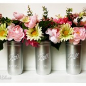 Silver Wedding / Bridesmaids Bouquet Holders - Painted Mason Jar Vase - Wedding Decor - Centerpiece - 1.5 Pint Ball Jars
