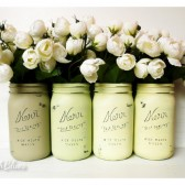 Greens and Yellows SUMMER Wedding and Home Decor - Painted Mason Jars - Vase