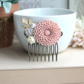 Powder Blush Pink Chrysanthemum Flower, Ivory Rose, Gold Leaf, Pearl Antiqued Brass Hair Comb