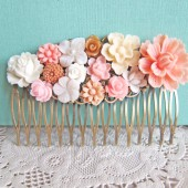 Wedding Hair Comb Pink White Ivory Blush Shabby Chic Antique Brass Bridal Vintage Style Bridesmaids Gift Maid of Honor Secret Garden