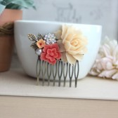 Bridal Hair Comb. Ivory Rose, Coral Sakura, Vintage Inspired Rhinestone, White Pearl, Brass Leaf. Coral Ivory Wedding