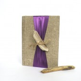 Wedding guest book and Pen SET with Driftwood and colorful ribbon Burlap Linen Book or Bridal shower or engagement scrapbook