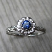 Blue Sapphire Twig Halo Ring in 14k Gold